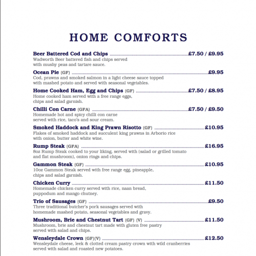 Rope and Anchor Evening Menu